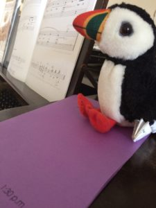 Puffy the Puffin at the piano